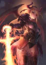 1girl arm_at_side armor armored_boots bangs black_panties blonde_hair boots breasts claws closed_mouth commentary_request cowboy_shot demon_girl demon_horns demon_wings embers eyelashes fire gauntlets hair_ornament hair_ribbon highres horns lips long_hair looking_at_viewer original otsukemono panties pauldrons pointy_ears red_eyes ribbon shirt showgirl_skirt skin_tight small_breasts solo standing swept_bangs taut_clothes taut_shirt thigh_boots thighhighs tiara underwear wings