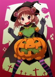 >:d 1girl :d bat blush brown_hair cape church cross double_bun fang ghost gloves halloween hat idolmaster idolmaster_cinderella_girls munakata_atsumi open_mouth pink_eyes pumpkin pumpkin_skirt revealing_clothes semahiro short_hair smile solo witch_hat