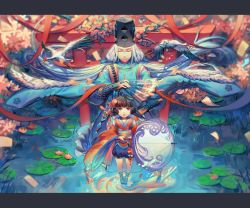 1boy 1girl :o abe_no_seimei_(onmyoji) animal ankle_lace-up arm_guards bangs beads black_hair black_hat blue_ribbon blunt_bangs blurry closed_mouth cross-laced_footwear depth_of_field diamond_(shape) eyes_closed fan fish fish_hair_ornament floating_hair flower folding_fan from_above goldfish grass hair_ornament hair_ribbon hat highres holding holding_fan holding_umbrella japanese_clothes jiao_huashe kagura_(onmyoji) kanzashi kimono leaf letterboxed lily_pad long_hair long_sleeves looking_at_viewer lotus obi onmyoji parasol pentagram petals pigeon-toed pink_flower pom_pom_(clothes) purple_eyes red_ribbon reflection ribbon sash shoes socks standing star star_print tassel tate_eboshi torii umbrella very_long_hair water water_surface wave_print white_hair wide_sleeves