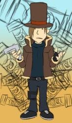 1boy brown_hair fingerless_gloves gloves gun handgun hat hershel_layton leon_s_kennedy leon_s_kennedy_(cosplay) professor_layton resident_evil resident_evil_4 top_hat weapon