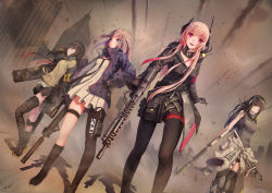 4girls absurdres asymmetrical_legwear black_gloves black_hair black_jacket black_legwear black_necktie black_shorts black_skirt blue_eyes brown_hair dress eyebrows_visible_through_hair fang floating_hair girls_frontline gloves green_eyes gun hairband hand_on_hip highres holding holding_gun holding_weapon holster jacket jay_xu knife long_hair looking_at_viewer multiple_girls necktie open_mouth outdoors pantyhose pink_hair red_eyes rifle short_dress short_shorts shorts skirt standing sweater_vest thigh_holster thigh_strap thighhighs weapon white_dress zipper