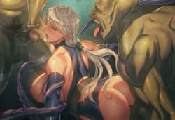 1girl anal ass blonde_hair breasts censored highres homare_(fool's_art) large_breasts monster mosaic_censoring open_mouth original penis penis_on_face ponytail rape restrained sex shiny shiny_skin solo spitroast tentacle tongue tongue_out yellow_eyes