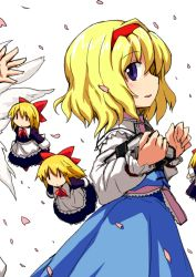 2girls alice_margatroid blonde_hair blue_eyes book doll dress gerijita grimoire_of_alice hairband lily_white multiple_girls out_of_frame petals shanghai_doll short_hair touhou wings