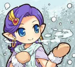 1girl bella_(dq5) blue_eyes breath dragon_quest dragon_quest_v earrings hair_ornament jewelry mittens mizuno_mumomo pointy_ears purple_hair smile snowing solo square_enix tree winter