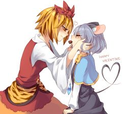 2girls animal_ears blonde_hair blush capelet chocolate eyes_closed food grey_hair hair_ornament heart koza mouse_ears mouse_tail multicolored_hair multiple_girls nazrin red_eyes short_hair simple_background tail text toramaru_shou touhou two-tone_hair valentine yuri