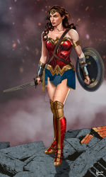 1girl armor brown_eyes brown_hair dawn_of_justice dc_comics dccu forehead_protector full_body pteruges shield solo strapless sword vambraces weapon wonder_woman