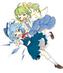 2girls blue_eyes blue_hair bow cirno daiyousei fairy_wings green_hair hair_bow highres ice ice_wings multiple_girls one_eye_closed open_mouth puffy_short_sleeves puffy_sleeves sanka_(mana_nim) shirt short_sleeves side_ponytail skirt skirt_set smile touhou vest wings