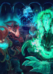 absurdres alternate_costume artist_name blood_moon_thresh championship_thresh crossed_arms deep_terror_thresh fire glowing highres horns league_of_legends looking_at_viewer mediocrity1015 multiple_persona no_humans sitting ssw_thresh tagme thresh throne