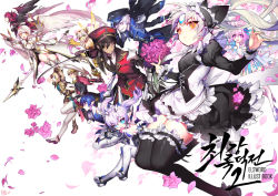 :d add_(elsword) ahoge aisha_(elsword) ara_han bare_shoulders black_gloves black_legwear blonde_hair blue_eyes blue_hair boots bouquet brown_hair character_request chung_seiker ciel_(elsword) commentary_request corset cover cover_page cross-laced_clothes dark_skin dress edan_(elsword) elesis_(elsword) elsword elsword_(character) epaulettes eve_(elsword) expressionless fairy_wings flower forehead_jewel full_body gloves green_eyes guild_sweetheart hair_between_eyes hair_ornament hair_ribbon hat headgear holding_sword holding_weapon lance lavender_hair leg_garter long_hair long_sleeves looking_at_viewer luciela_r._sourcream military military_uniform multiple_boys multiple_girls necktie open_mouth pants peaked_cap petals pika_(kai9464) pink_eyes pink_hair pointy_ears polearm profile puffy_long_sleeves puffy_sleeves raven_(elsword) red_hair rena_(elsword) ribbon rose_petals shoes short_hair silver_hair skirt smile spear sword thighhighs twintails uniform wavy_hair weapon white_hair wings yellow_eyes zettai_ryouiki