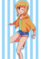 1boy banana-tan blonde_hair boku_no_pico green_eyes hoodie pico short_hair trap
