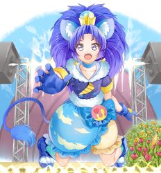 1girl :d animal_ears bangs blue_bow blue_choker blue_eyes blue_gloves blue_hair blue_legwear blue_shirt blue_shoes blue_skirt bow cat_ears cat_tail cloud_print crown cure_gelato earrings flower gloves highres jewelry kirakira_precure_a_la_mode kneeling layered_skirt lion_ears lion_tail looking_at_viewer magical_girl mini_crown open_mouth parted_bangs precure print_skirt shirt shoes skirt smile solo tail tategami_aoi white_skirt yuutarou_(fukiiincho)