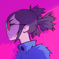 1girl glasses gorillaz ilya_kuvshinov noodle_(gorillaz) portrait profile purple_hair short_hair simple_background solo