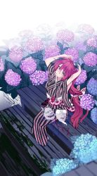 1girl flower from_above grey_eyes highres hydrangea japanese_clothes kimono komenama original red_hair sitting solo tsurime twintails tying_hair