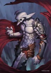 abs absurdres armor artist_name cape claws collarbone daye_bie_qia_lian highres monster no_humans original purple_skin scar sharp_teeth shirtless shoulder_armor solo teeth vambraces