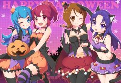 4girls :d ;) ;q aino_megumi alternate_costume animal_ears blue_eyes blue_hair breasts brown_eyes brown_hair cat_ears cat_tail choker cleavage halloween happinesscharge_precure! hat highres hikawa_iona jack-o'-lantern kuune_rin long_hair looking_at_viewer medium_breasts midriff multiple_girls navel one_eye_closed oomori_yuuko open_mouth pantyhose pink_eyes precure purple_eyes purple_hair red_hair shirayuki_hime short_hair small_breasts smile star striped striped_legwear tail tongue tongue_out