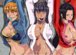 ball_gag boa_hancock bondage breasts huge_breasts jail nami nico_robin one_piece trio underwear