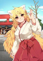 1girl absurdres animal_ears blonde_hair fox_ears fox_tail highres japanese_clothes long_hair miko orange_eyes original rope shimenawa shrine smile tail torauji_tensaburou tree waving