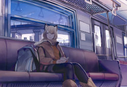 1girl animal_ears bag blonde_hair blue_legwear book bridge cat_ears leather_jacket light_smile original pantyhose scarf school_bag shimetta_oshime sitting sky solo star_(sky) starry_sky sweater train train_interior