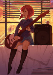 1girl baisi_shaonian blazer bow electric_guitar guitar highres instrument long_sleeves love_live!_school_idol_project nishikino_maki open_mouth red_hair school_uniform shirt sitting skirt sky smile solo speaker sunset window