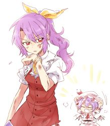 2girls :o ascot bat_wings blush bracelet brooch bruise buttons eyebrows eyebrows_visible_through_hair eyes_closed fang hair_ribbon hat hat_ribbon highres injury jewelry looking_back mob_cap multiple_girls open_mouth ponytail puffy_short_sleeves puffy_sleeves purple_hair red_eyes red_vest remilia_scarlet ribbon ribbon-trimmed_collar ribbon_trim short_sleeves sidelocks simple_background six_(fnrptal1010) torn_clothes touhou watatsuki_no_yorihime white_background wings yellow_ribbon