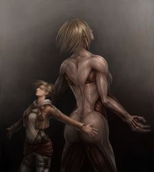 1girl annie_leonhardt back-to-back blonde_hair blue_eyes breasts dual_persona exposed_muscle female_titan gradient gradient_background highres jacket jason_peng jewelry outstretched_arms ring shingeki_no_kyojin spoilers uniform