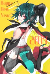 1girl 2017 absurdres adapted_costume antennae artist_name asymmetrical_legwear backless_outfit bare_shoulders bent_knees bifrst black_pants blush centipede ear_piercing foreshortening from_side full_body green_hair grin hair_between_eyes happy_new_year high_heels highres insect_girl insect_wings looking_at_viewer looking_to_the_side new_year pants piercing red_eyes shirt smile solo touhou white_shirt wings wriggle_nightbug