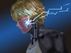1boy android blonde_hair cyborg damaged electricity exposed from_side genos glowing_lines hettsuaa highres mechanical_parts one-punch_man original simple_background solo sparks yellow_eyes
