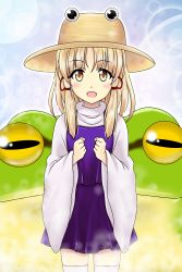 1girl :d animal blonde_hair frog hat highres moriya_suwako open_mouth oversized_animal reimei_(r758120518) short_hair_with_long_locks skirt smile touhou vest wide_sleeves yellow_eyes