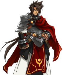 1boy armor artist_request bangs black_hair cape elsword expressionless gloves long_hair male_focus official_art parted_bangs penensio_(elsword) red_cape solo spiked_hair tabard white_background yellow_eyes