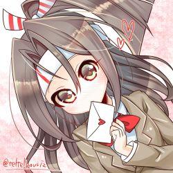 1girl asakishoten biting blush brown_eyes brown_hair dutch_angle hachimaki headband heart kantai_collection letter neck_ribbon ribbon solo suit_jacket upper_body zuihou_(kantai_collection)