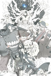 6+girls absurdly_long_hair abyssal_jellyfish_hime ahoge aircraft_carrier_hime ancient_destroyer_oni bare_shoulders battleship_hime black_hair bonnet breasts chains cleavage collar cuffs double_bun dress drill_hair floating_hair grin heavy_cruiser_hime hime_cut horns jacket japanese_clothes kantai_collection kimono large_breasts light_cruiser_oni long_hair looking_at_viewer looking_back midriff multicolored_hair multiple_girls navel ninimo_nimo no_eyebrows open_clothes open_jacket orange_eyes partially_submerged red_eyes sailor_collar seaplane_tender_water_hime shackles shinkaisei-kan short_hair_with_long_locks side_ponytail smile standing standing_on_liquid streaked_hair submarine_hime submerged tail teeth tentacle torn_clothes very_long_hair waving wavy_hair white_hair white_skin wo-class_aircraft_carrier yellow_eyes