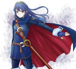1girl blue_eyes blue_hair breasts cape female fire_emblem fire_emblem:_kakusei long_hair lucina nintendo sword