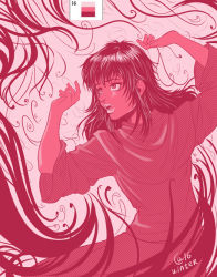 1girl arms_up berserk casca color_guide female limited_palette long_hair monochrome open_mouth pink sasha_gladysh solo