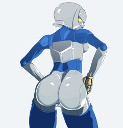 1girl android anus artist_request ass back backboob breasts candy_diamond from_behind hands_on_hip king_of_fighters looking_back medium_breasts nipples robot robot_girl shiny shiny_skin short_hair silver_hair silver_skin snk solo the_king_of_fighters