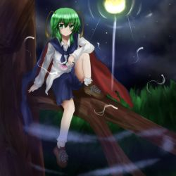 1girl ankle_socks antennae biburu cape cross-laced_footwear fireflies flower fog full_moon grass green_eyes green_hair in_tree leg_up light_frown light_trail long_sleeves looking_at_viewer moon night outdoors shoes short_hair shorts sitting sky solo star_(sky) starry_sky touhou tree untucked_shirt wriggle_nightbug