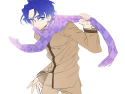 1boy blue_eyes blue_hair cccbast fate/stay_night fate_(series) highres matou_shinji scarf solo wavy_hair