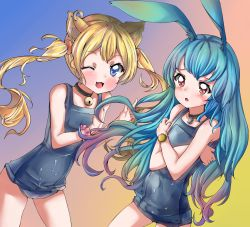 2girls :3 animal_ears bell blonde_hair blue_eyes blue_hair blush bracelet brown_eyes bunny_ears cat_ears collar covering covering_breasts earrings fangs highres jewelry jingle_bell lock long_hair multiple_girls no_tail one_eye_closed original padlock school_swimsuit smile swimsuit twintails