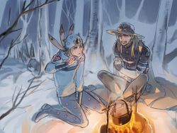 2boys arm_warmers bandanna blonde_hair blue_eyes campfire cape clenched_teeth cold cooking eyes_closed fingerless_gloves forest gloves goggles gyro_zeppeli hat heart hood hoodie horseshoe indian_style johnny_joestar jojo_no_kimyou_na_bouken legs_crossed long_hair looking_at_another multiple_boys nature night outdoors pot reammara shoes short_hair sitting snow spoon star star_print steam steel_ball_run teeth tree wariza