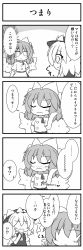 2girls 4koma april_fools comic highres mai_(touhou) multiple_girls senba_chidori touhou touhou_(pc-98) translated tsundere wings yuki_(touhou)