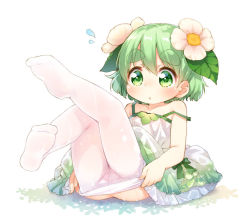 1girl blush dress eyebrows flower green_eyes green_hair hair_flower hair_ornament kinoko-san kito_(sorahate) looking_at_viewer original pantyhose pantyhose_pull short_hair simple_background solo thick_eyebrows undressing wet wet_clothes wet_pantyhose white_background white_legwear