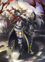 1girl boots breasts cleavage earrings eyes_closed garter_straps jewelry light_smile long_hair pixiv_fantasia pixiv_fantasia_t pointy_ears pulling shinazo solo sword thigh_boots thighhighs weapon white_hair