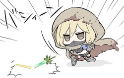 1girl angeltype angry bangs belt blonde_hair blood bloody_clothes broken broken_sword broken_weapon brown_eyes cape chaos_ruler_(granblue_fantasy) chibi djeeta_(granblue_fantasy) face_mask granblue_fantasy hair_between_eyes hood mask red_legwear short_hair simple_background skull solo sword thighhighs throwing torn_cape torn_clothes weapon white_background