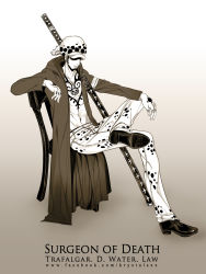 1boy chair character_name hat jeans monochrome one_piece sitting solo trafalgar_law