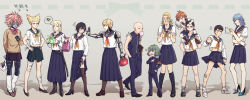 1girl 6+boys alien alternate_costume anger_vein ankle_grab arm_at_side arm_behind_back armband armor arrow bad_id bald bandage bandaged_arm bandaged_leg bandaid_on_leg bangs black_boots black_eyes black_hair black_legwear black_sclera black_shoes blank_eyes blonde_hair blue_hair blue_shoes blue_skirt blush boots bow bowtie briefcase brown_eyes brown_hair brown_shoes brown_skirt bubble_blowing carrying carrying_over_shoulder carrying_under_arm cellphone changye chewing_gum clenched_hand clenched_hands closed_mouth collarbone contrapposto crossdressing curly_hair cyborg cyclops dotted_line doutei_(one-punch_man) doutei_(onepunch_man) earrings facial_mark flats flipped_hair frown gakuran garou_(one-punch_man) garou_(onepunch_man) genos green_bow green_eyes grey_skin groin gum hair_bow hair_ornament hair_slicked_back hairclip hairy_legs half-closed_eyes hands_in_pockets hands_on_hips height_difference high_heel_boots high_heels holding ikemen_kamen_amaimask jewelry king_(one-punch_man) king_(onepunch_man) kinzoku_bat kneehighs kunai leg_hair leg_warmers legs_apart letter lifted_by_self loafers long_hair long_skirt long_sleeves looking_at_another looking_up lord_boros love_letter mechanical_arms midriff miniskirt mouth_hold multiple_boys navel obentou one-eyed one-punch_man onsoku_no_sonic open_mouth orange_ribbon outstretched_arm panties parted_bangs phone pink_bow pink_bowtie pink_hair pleated_skirt pointing pointy_ears pointy_hair purple_eyes red_eyes red_shoes ribbed_legwear ribbon saitama_(one-punch_man) scar school_uniform senkou_no_flash serafuku shadow sheath sheathed shoes short_hair short_sleeves shorts_under_skirt shoulder_carry sitting_on_shoulder skirt skirt_down skirt_lift smile sneakers socks speech_bubble spiked_hair standing star stomach sweater swept_bangs sword taking_picture tatsumaki text thigh_strap thighhighs torn_clothes torn_skirt torn_sleeves underwear walking weapon white_shoes yaoi yellow_bow yellow_bowtie yellow_eyes zombieman
