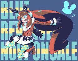 1girl animal_ears announcement_celebration bangs black_gloves blue_background blue_eyes blue_revolver blue_sclera blunt_bangs boots bunny_ears coat copyright_name earmuffs eyebrows eyebrows_visible_through_hair fake_animal_ears full_body gloves highres long_hair looking_at_viewer mae_(blue_revolver) open_mouth pantyhose print_legwear raigou simple_background smile snowman_print solo very_long_hair