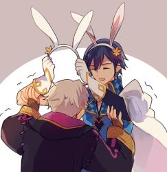 2boys animal_ears bunny_ears bunnysuit embarrassed fire_emblem fire_emblem:_kakusei fire_emblem_heroes krom male_my_unit_(fire_emblem:_kakusei) multiple_boys my_unit_(fire_emblem:_kakusei) robe simple_background smile