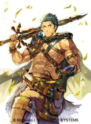 1boy abs bag cape copyright_name dieck fire_emblem fire_emblem:_fuuin_no_tsurugi fire_emblem_cipher green_eyes green_hair leaf male_focus navel official_art scar shirtless simple_background solo sword weapon white_background