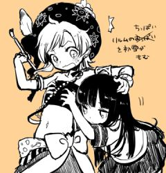 2girls armlet bangle bare_shoulders beads blush bow bracelet breast_grab collarbone crossover feathers final_fantasy final_fantasy_iv flat_chest groping hand_on_another's_head hat hat_feather hatsuyuki_(kantai_collection) holding jewelry kantai_collection kobayashi_kabura long_hair lowres multiple_girls navel open_mouth orange_background paintbrush pleated_skirt relm_arrowny school_uniform serafuku short_hair short_sleeves simple_background skirt sweatdrop translation_request tubetop