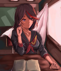 1girl book brown_hair desk kill_la_kill matoi_ryuuko multicolored_hair papa_(pixiv12443934) playing_with_own_hair school_uniform senketsu serafuku solo uniform