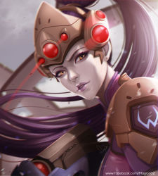 1girl amelie_lacroix dutch_angle ear_studs earrings grey_skin gun high_ponytail jewelry laser_sight lipstick long_hair looking_at_viewer magion02 makeup overwatch portrait purple_hair purple_lipstick rifle shoulder_pads signature solo watermark weapon web_address widowmaker_(overwatch) yellow_eyes
